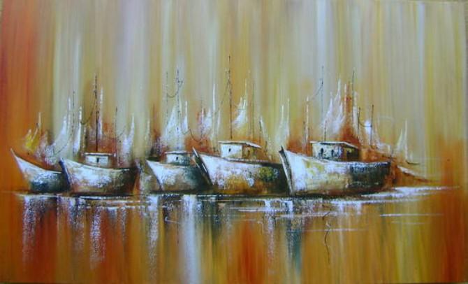 Quadro abstrato com barcos para decoração  2bb 50x100 COD 175