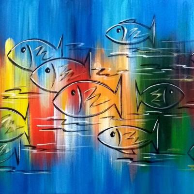 Quadro decorativo pintado a mão peixes 2b medida 50x100 código 1203
