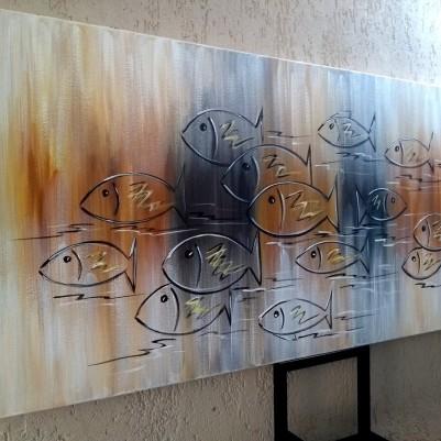 Quadro decorativo pintado a mão peixes 2b medida 60x120 código 1204