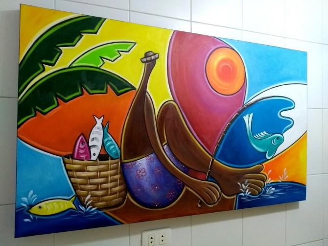 Quadro decorativo pintado a mão releitura de Tarsila do Amaral por Katia Almeida , O Abaporu, pescador 70x120 código 1205