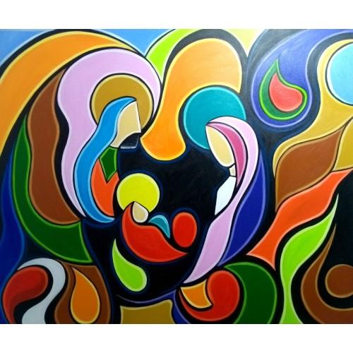 Quadro decorativo pintado a mão tema Sagrada família  Modelo 4 medida 100x120 código 1235