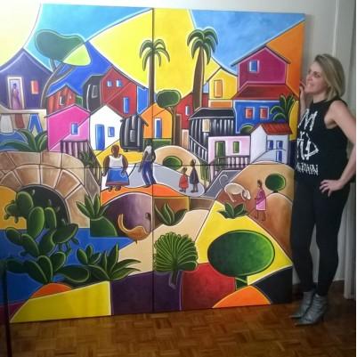"""Quadro pintado a mão Releitura da obra de Tarsila do Amaral """"Morro da favela """" medida total  200X200 COD 793"""