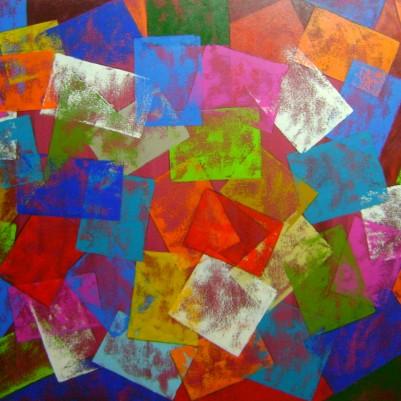 Quadro abstrato multicolorido geométricos espatulado pintado a mão mod 2 medida 80x120 código 872