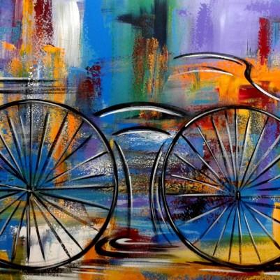 Quadro decorativo pintado a mão tema bike, ciclismo, bicicleta medida 70x120 código 1005