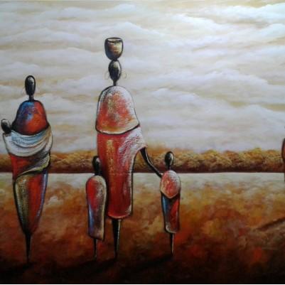 Quadro decorativo pintado a mão tema africano 1a medida  100x150 código 1085