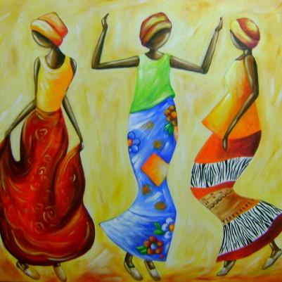 Quadro decorativo pintado a mão tema africano 3a medida 70x90 código 214