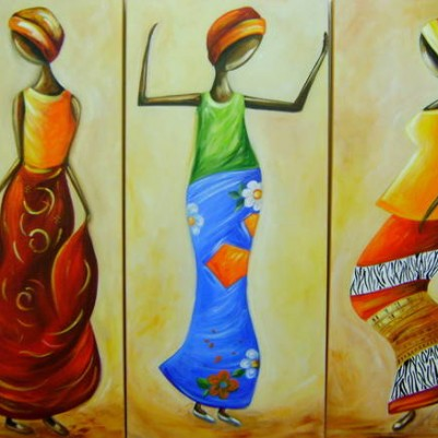 Quadro decorativo pintado a mão tema africano 3a  vertical medida  30x80 código 309