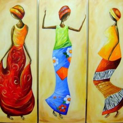 Quadro decorativo pintado a mão tema africano 3a  vertical medida  40x90 código 380