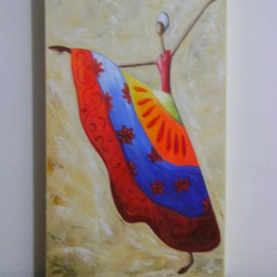 Quadro decorativo pintado a mão tema africano 4a medida 30x50 código 381