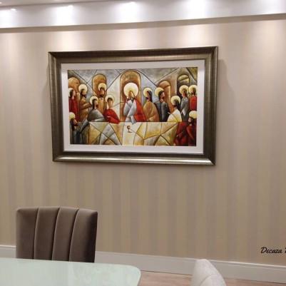 Quadro pintado a mão Santa ceia espatulada,para decoração medida 70x120 códio 936
