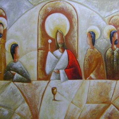 Quadro pintado a mão Santa ceia espatulada,para decoração medida 60x120 códio 969