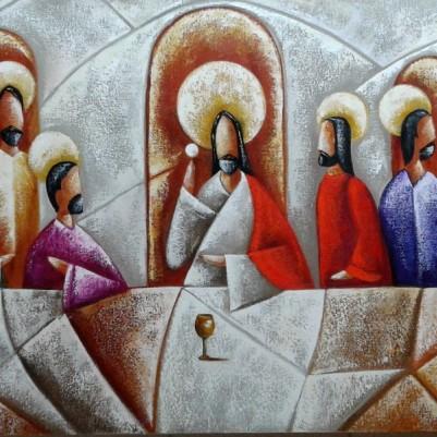 Quadro pintado a mão Santa ceia espatulada,para decoração medida 60x120 códio 971