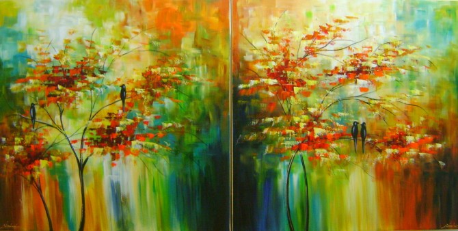 Quadros pintados a mão arvore e passarinhos medida 70x70 cada quadro código 975