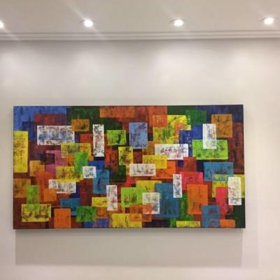 Quadro abstrato multicolorido geométricos espatulado pintado a mão 80x150 código 1001