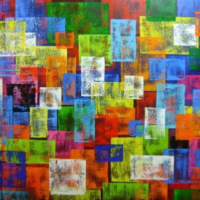 Quadro abstrato multicolorido geométricos espatulado pintado a mão 80x110 código 1003