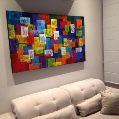 Quadro abstrato multicolorido geométricos espatulado pintado a mão 90x150 código 1004