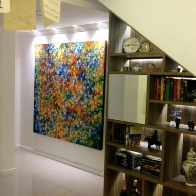 Quadro abstrato multicolorido pintado a mão, vertical 170x180 COD 1014