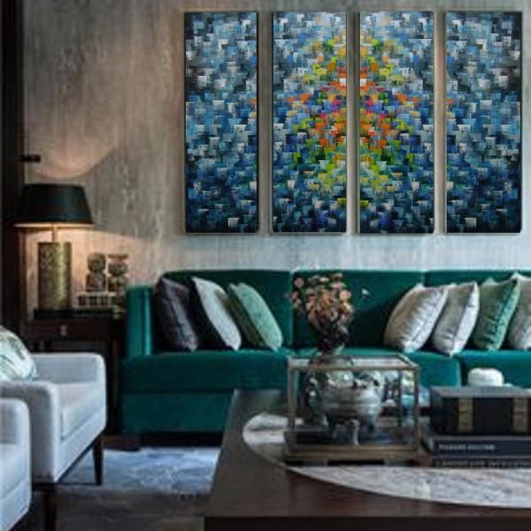 Quadros abstratos multicoloridos pintado a mão para composição cada 30x100 código 1038