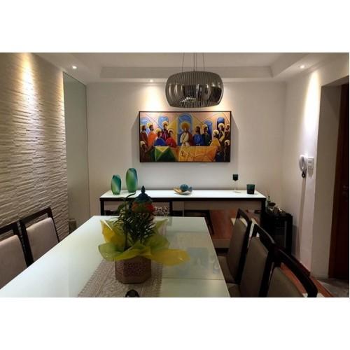Quadro decorativo Santa ceia colorida moderna pintada a mão medida 60x120 códio 1078