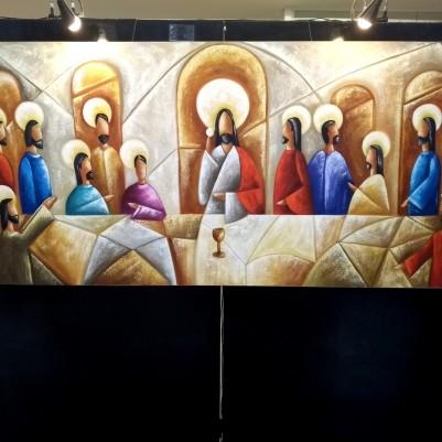 Quadro pintado a mão Santa ceia espatulada,para decoração medida 100x200 códio 1082