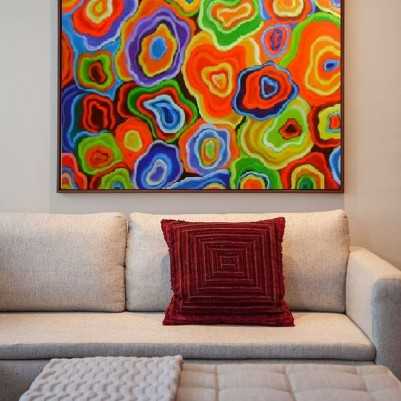 Quadro abstrato multicolorido, Ágata, pintado a mão 80x80 código 1095