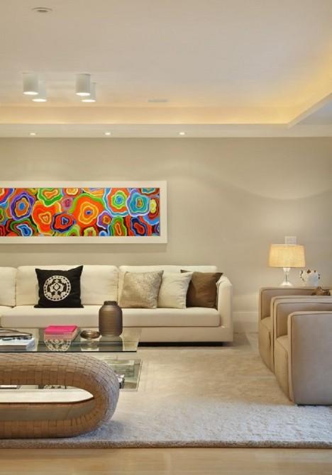 Quadro abstrato multicolorido, Ágata, pintado a mão 30x150 código 1096