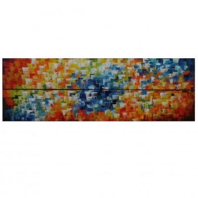 Quadros abstratos multicoloridos pintado a mão para composição cada 20x120 código 1099