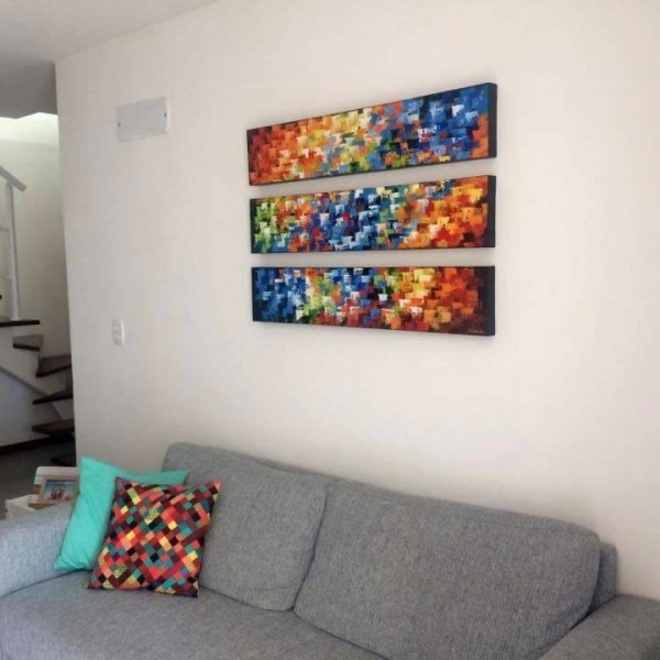 Quadros abstratos multicoloridos pintado a mão para composição cada 20x120 código 1100