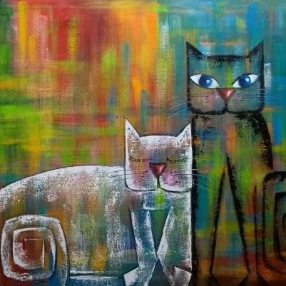 Quadro decorativo pintado a mão gatos medida 70x100 código  501