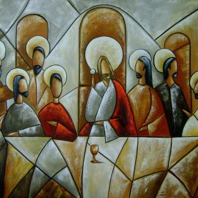Quadro pintado a mão Santa ceia espatulada,para decoração medida 90x120 códio 580
