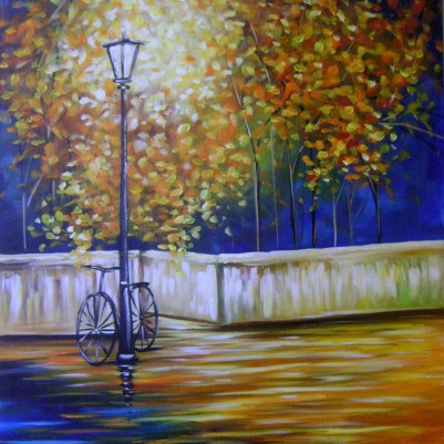 Quadro decorativo pintado a mão arvore e bicicleta medida 60x80 COD 652