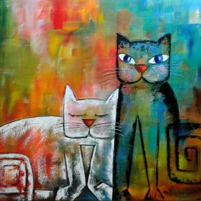 Quadro decorativo pintado a mão gatos medida 70x90 código  710