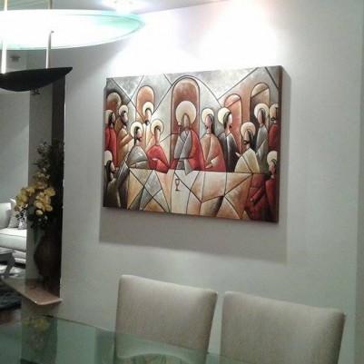 Quadro pintado a mão Santa ceia espatulada,para decoração medida 80x120 códio 781