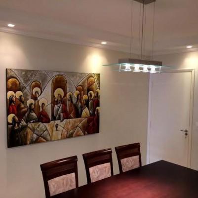 Quadro pintado a mão Santa ceia espatulada,para decoração medida 100x150 códio 818
