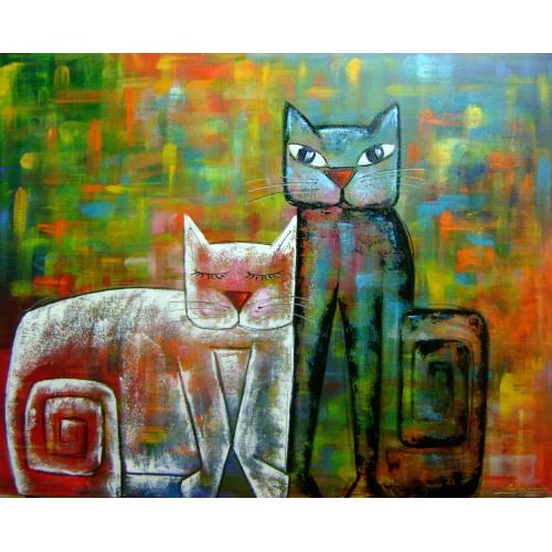 Quadro decorativo pintado a mão gatos medida  80x100 código  869