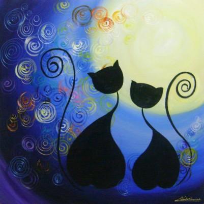 Quadro decorativo pintado a mão gatos ao luar medida 60X60 Códiogo 880