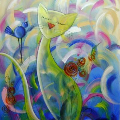 Quadro decorativo pintado a mão gato e passarinho, medida 60X80 Código 884