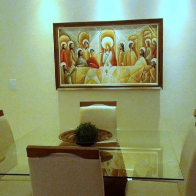 Quadro pintado a mão Santa ceia espatulada,para decoração medida 80x120 códio 912