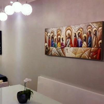 Quadro pintado a mão Santa ceia espatulada,para decoração medida 50x120 códio 913