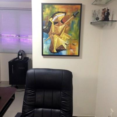 Quadro decorativo, pintado a mão, para escritório advocatício tema Deusa da justiça, Themis modelo 3, 60x80 código 927