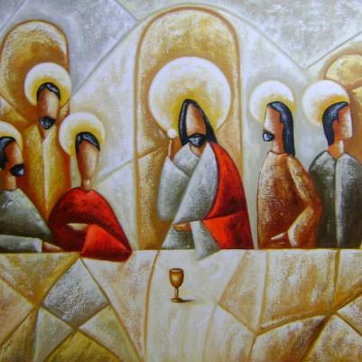 Quadro pintado a mão Santa ceia espatulada,para decoração medida 70x120 códio 929