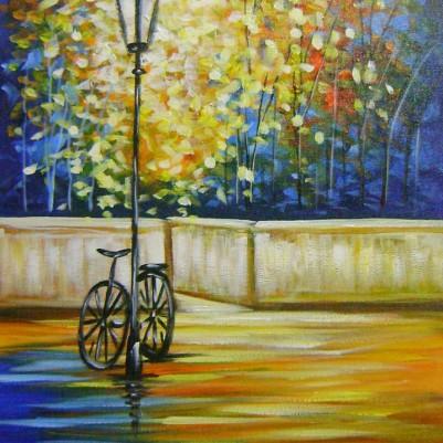 Quadro decorativo pintado a mão arvore e bicicleta medida 30x50 COD 982