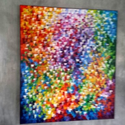 Quadro abstrato multicolorido pintado a mão, vertical 140x160 COD 997