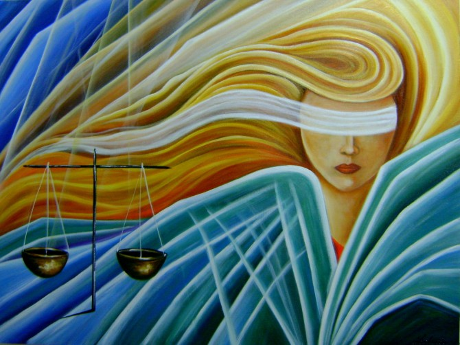 Quadro decorativo, pintado a mão, para escritório advocatício tema Deusa da justiça, Themis modelo2 medida 60x80 código 998
