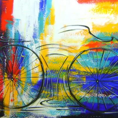 Quadro decorativo pintado a mão tema bike, ciclismo, bicicleta, abstrato,quadro original,medida  70x100 codigo 1000