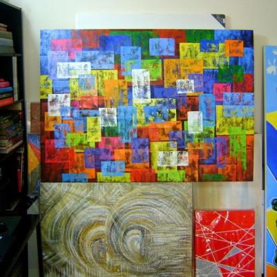 Quadro abstrato multicolorido geométricos espatulado pintado a mão 100x140 código 1002