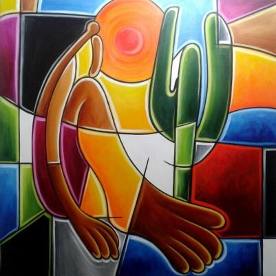 Quadro decorativo pintado a mão releitura de Tarsila do Amaral por Katia Almeida , O Abaporu  100x100 COD 1043