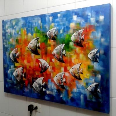 Quadro decorativo pintado a mão peixes 1A medida 80x120 cod 1051