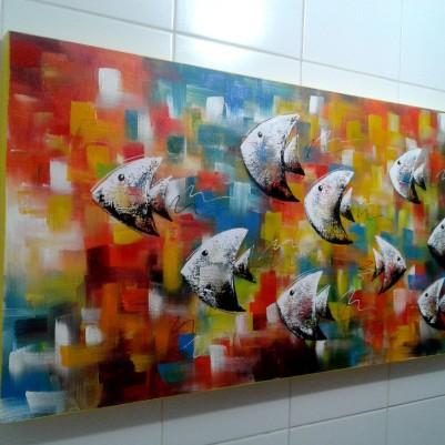 Quadro decorativo pintado a mão peixes 1A medida 50x100 cod 1052