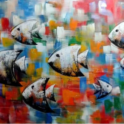 Quadro decorativo pintado a mão peixes 1A medida 60x120 cod 1064